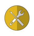 support repair tools sign icon yellow shadow vector image vector image
