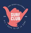 vintage surfing emblem for web design surfer logo vector image vector image