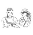 woman doctor and patient sketch storyboard vector image