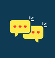 yellow love messages speech bubble vector image