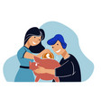 young couple saving money in piggy bank for future vector image vector image