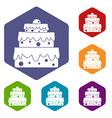 big cake icons set hexagon vector image