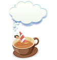A girl enjoying inside the big cup of choco with vector image vector image