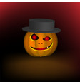 an evil pumpkin in a hat for a halloween holiday vector image