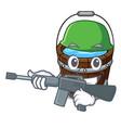 army wooden bucket character cartoon vector image