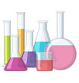 beakers with chemical inside vector image vector image