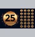 beautiful golden anniversary labels banner big vector image