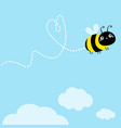 bee icon dash line heart white clouds flying vector image vector image