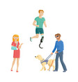 blind man amputee sportsman broken arm vector image