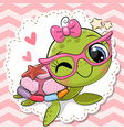 cartoon turtle girl in pink eyeglasses with a bow vector image vector image