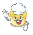 chef egg tart character cartoon vector image