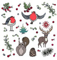 christmas background deer squirrel red robin vector image vector image