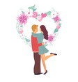 couple standing together flowers and love vector image vector image