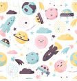 cute space seamless pattern colorful kids vector image