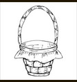 empty wicker basket with handle decorated with vector image