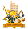Engineer and building being under construction vector image vector image