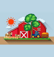 farmyard with cows and blue tractor vector image