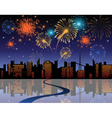 fireworks in city vector image
