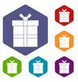 gift box with ribbon icons set hexagon vector image vector image