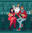 girl and guy sitting at bar with bartender vector image vector image