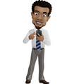 happy businessman holding mobile phone vector image