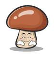 happy mushroom character cartoon vector image