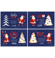 holly jolly greeting cards santa pointing on tree vector image vector image