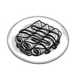 ink sketch crepes with chocolate cream filling vector image vector image