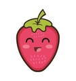 kawaii cartoon strawberry fruit vector image vector image