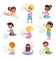 kids draw little children with colored pencils vector image vector image