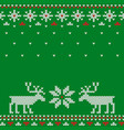knitted seamless green christmas pattern with deer vector image vector image