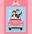 man and woman in auto groom and bride vector image vector image