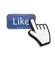 Mouse hand cursor on like button vector image vector image