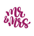 mr and mrs hand-written with pointed pen and ink vector image vector image