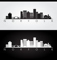norfolk usa skyline and landmarks silhouette vector image vector image