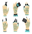 Old school tattoo hands vector image vector image