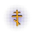 Orthodox cross icon comics style vector image vector image