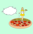 pop art process of cooking pizza comic book style vector image