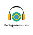 portuguese language learning logo icon with vector image