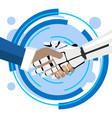 robot handshake vector image vector image