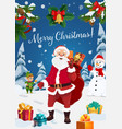 santa with christmas gifts snowman and elf vector image vector image