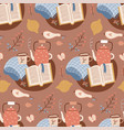 seamless autumn hygge pattern with book teapot vector image