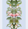 seamless border with jungle trees flamingo and vector image vector image