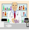 Senior pharmacist giving pills in blister pack vector image