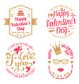 Set happy valentines day sign stamp card wit