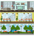 set of internet interior concept posters vector image vector image