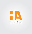 simple business logo for initial letter ha vector image vector image