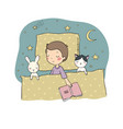 sleeping boy baby in bed with toys time to sleep vector image
