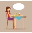 Slender girl eating salad vector image