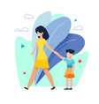 smiling happy mother walking with daughter in park vector image vector image